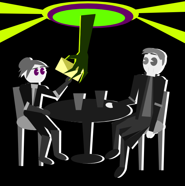 ...it's a dimensional HANNNDDD! black and green and purple all over...it hands a letter to warlock