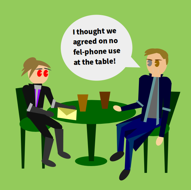 mage: 'i thought we agreed on on fel-phone use at the table'
