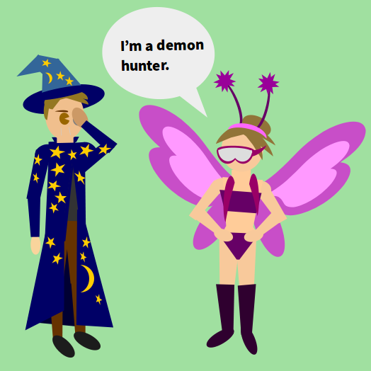 "warlock in....fairy princess with sleep mask.? ""I'm a demon hunter."""
